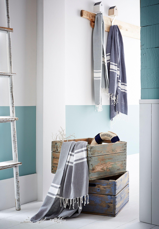 Fouta Coton Esprit Marina 100x180cm Mobilier Blanc Deco Salon Mobilier
