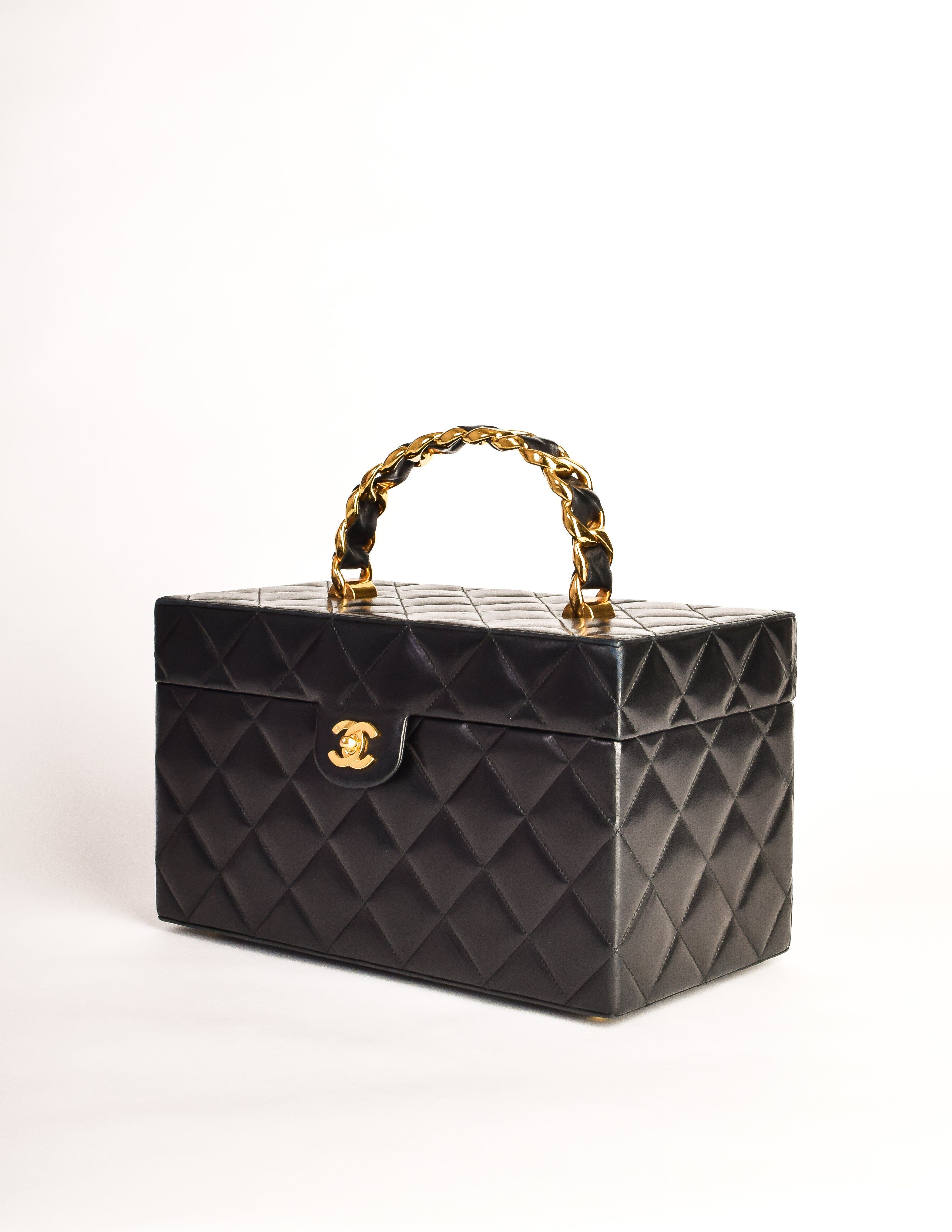 Chanel Vintage Black Quilted Lambskin Cosmetic Bag Train