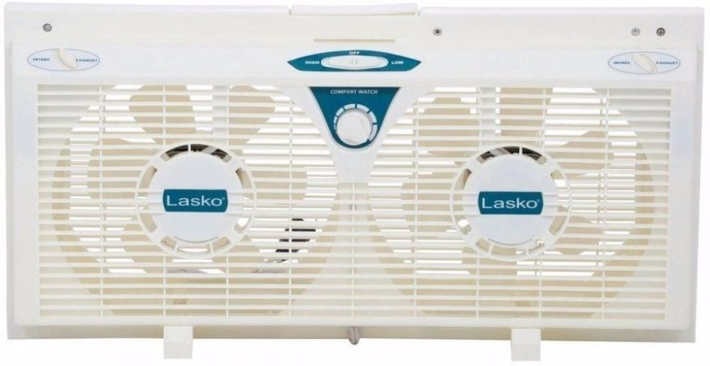 Durable 8 in electrically reversible twin window fan with