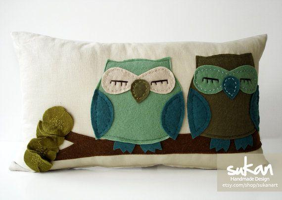 Sukan / TurquoiseGreen Owls Pillow Cover  12x20 inch door sukanart, $52.95