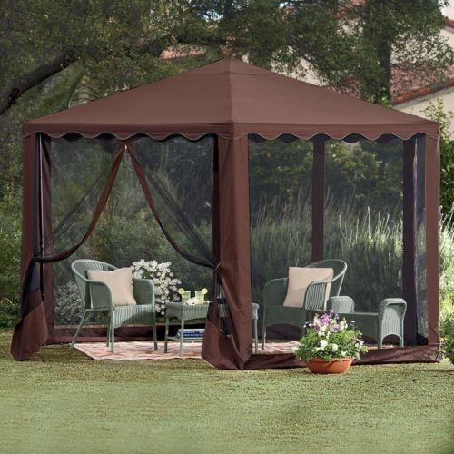 13u0027w waterproof hexagon screened steel framed gazebo tent outdoor patio room - Screened Gazebo