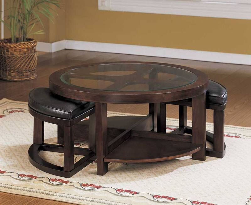 Contemporary-Living-Room-Furniture-Round Coffee Tables With Glass - contemporary tables for living