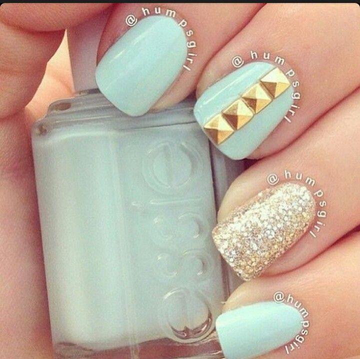 Blue and gold   uÑas   Pinterest   Uñas hermosas, Diseños de uñas y ...