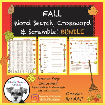 Fall (Autumn) Puzzles (BUNDLE!) Word Search, Crossword
