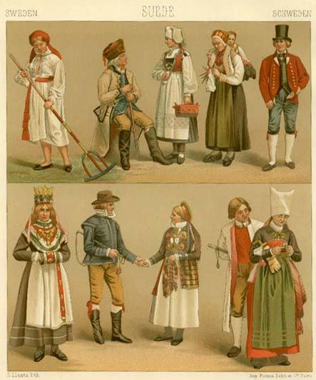 19th Century Traditional Swedish Clothing Scandinavian Costume Folk Dresses Sweden Costume