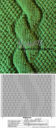 It's in Russian but looking at the pattern you can figure it out...moss stitch and knit stitch, pearling on the wrong side of knit stitch...etc;