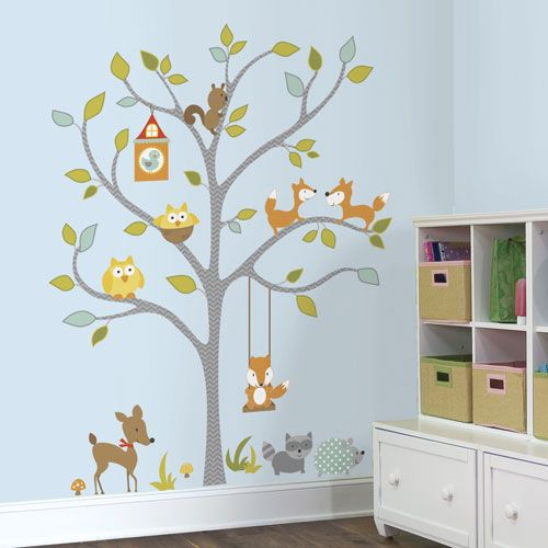 RoomMates Woodland Fox & Friends Tree Peel and Stick Wall Decals ...