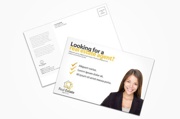 Real Estate Agent Postcard by printdesignbundle on Creative Market ...