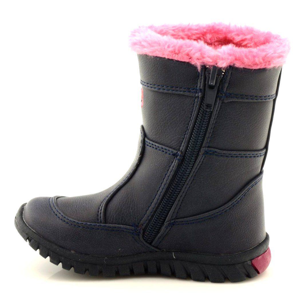 American Club Kozaczki Dziewczece American 8646 Granatowe Rozowe Wielokolorowe Boots Winter Boot Shoes