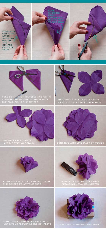 Como Fazer Embrulho Presente Natal Flor Papel 2 Flores