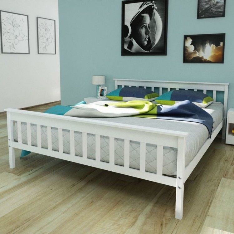 Best White King Size Bed Frame 5Ft Double Wooden Solid Pine 400 x 300