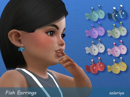 Fish Earrings For Toddlers Sims 4 8 Color Variations Unisex
