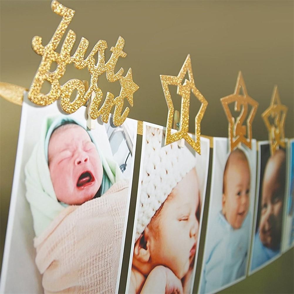 1set Newborn 1 12 Month Baby Photo Banner With Clip In 2020 1st Birthday Banners Birthday Photo Banner Monthly Baby Photos Banner
