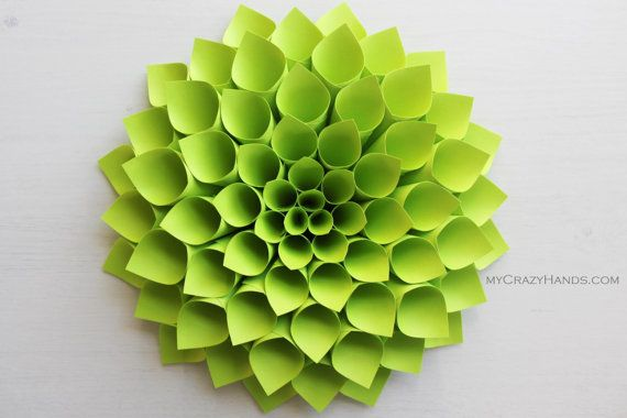 9 3 4 Dahlia Flower Wall Art Origami Gifts Wedding Gift Door Wreath Chartreuse