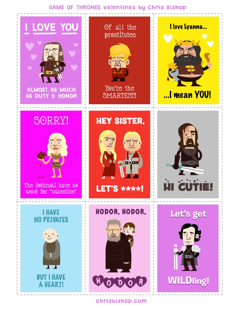 Game of Thrones valentine cards – Gamer Valentine Cards