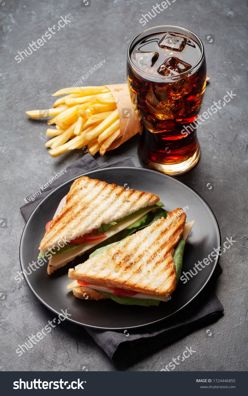 Club Sandwich Potato Fries Chips And Glass Of Cola Drink With Ice Fast Food Take Away Ad Sponsored Fries Chips Potato In 2020 Club Sandwich Fried Potatoes Food