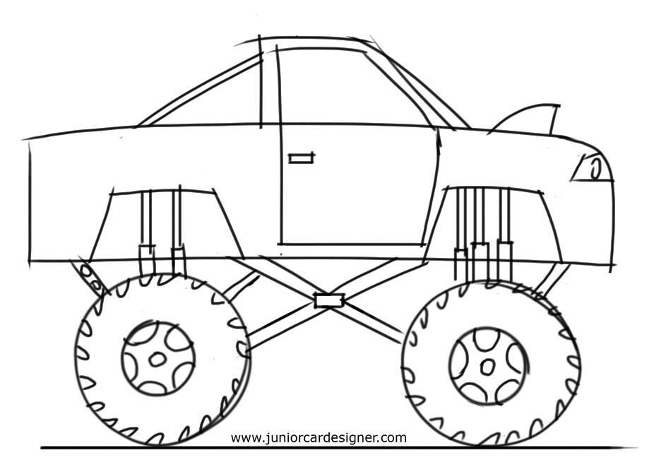 How To Draw A Monster Truck Monster Truck Drawing Monster Truck