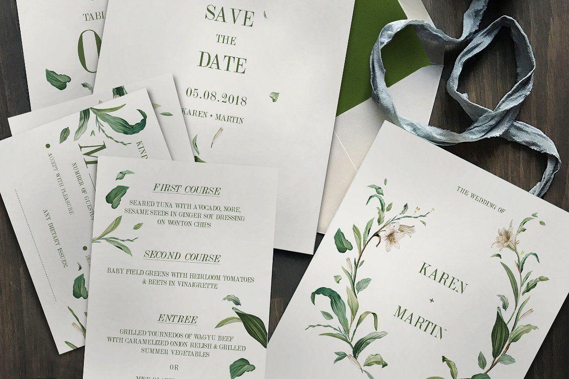 Green Foliage Wedding Suite   Invitation design, Wedding and Wedding