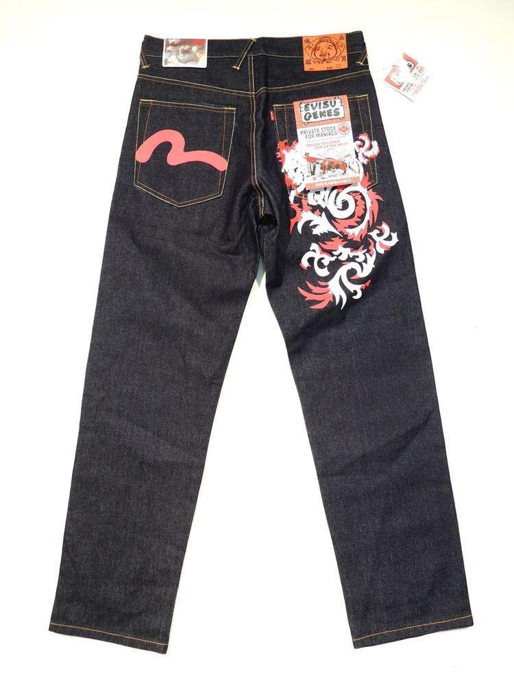 505a37162528 BNWT NEW Men s EVISU GENES size W32 L34 Blue Straight Leg Jeans in Clothes