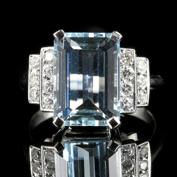 Aquamarine Diamond Ring 18ct White Gold