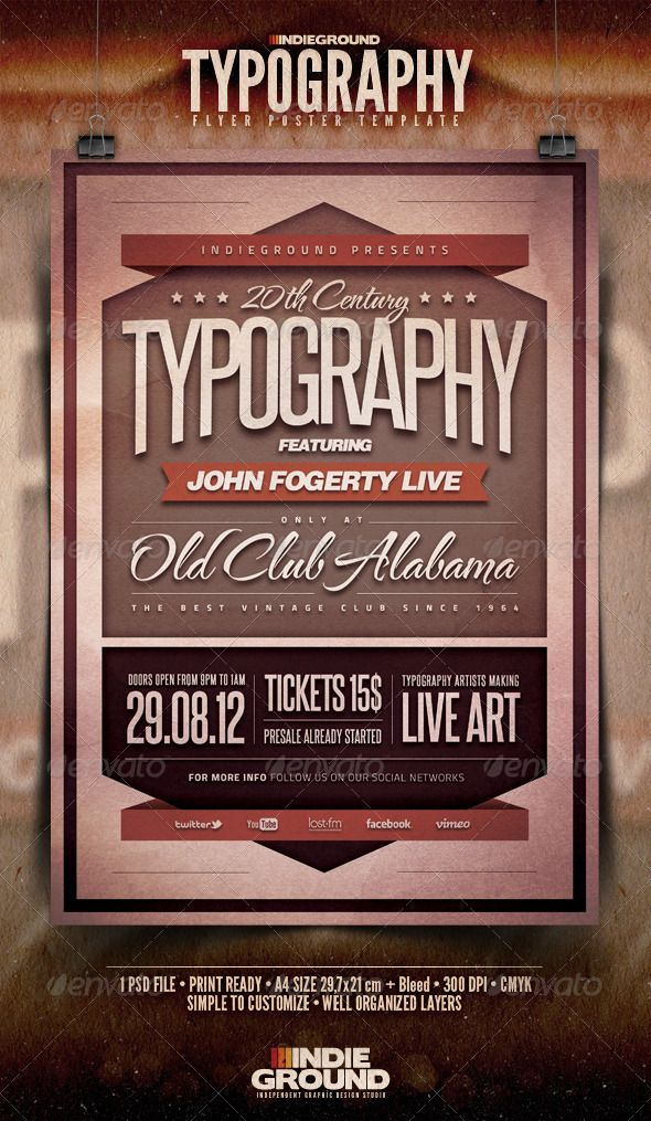 Typography FlyerPoster  Vintage Designs Brochures And Typography