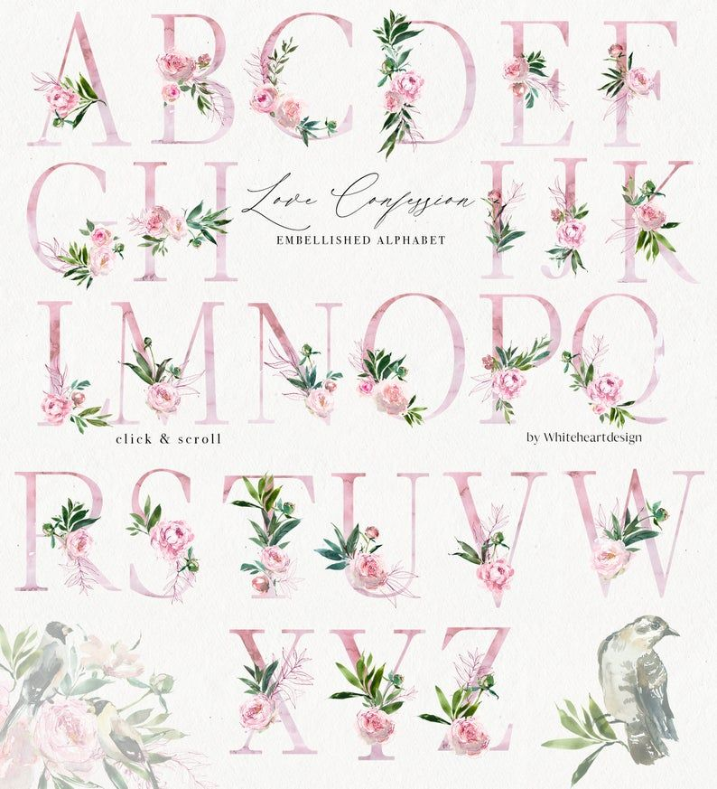 Love Confession Pink Watercolor Floral Alphabet Monogram
