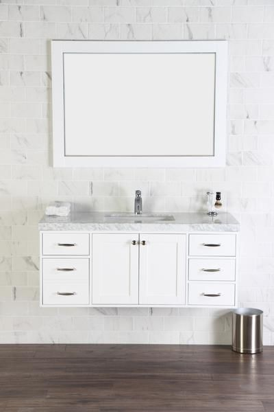 Abigail 48 Naos Cottage White Wall Mount Bathroom Vanity With