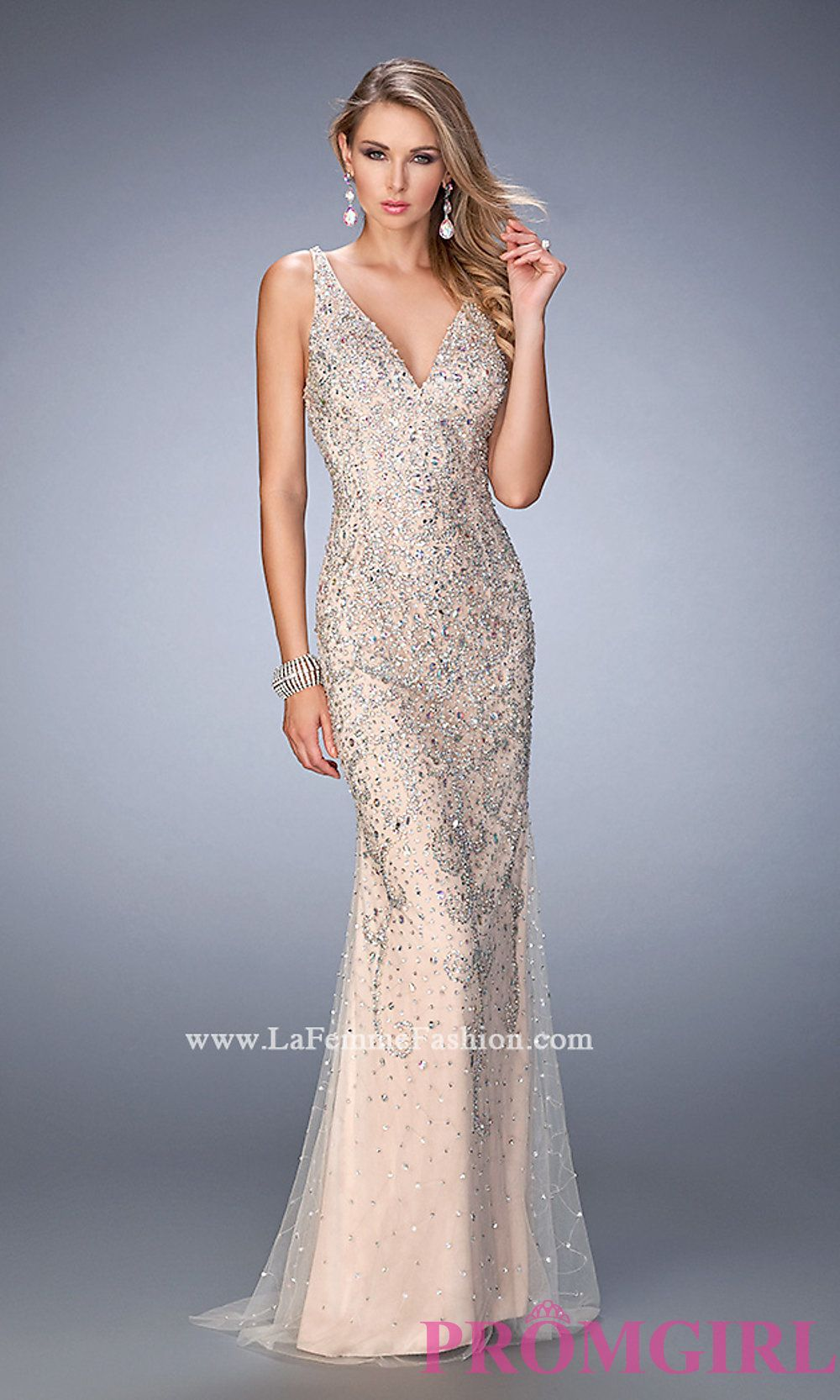 Beaded V-Neck Long Open Back Prom Dress by Gigi Style: LF-22644 ...