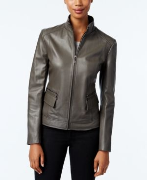 Cole Haan Leather Stand-Collar Jacket - White XS