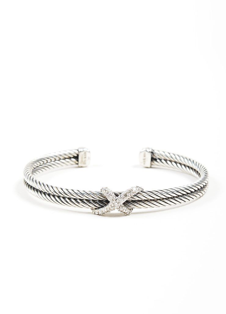 Sterling Silver And Diamond David Yurman X Double Cable Bracelet