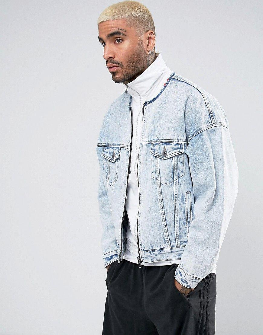 Asos Collarless Oversized Denim Jacket With Zip In Light Wash Blue Light Denim Jacket Asos Menswear Denim Jacket Men [ 1110 x 870 Pixel ]
