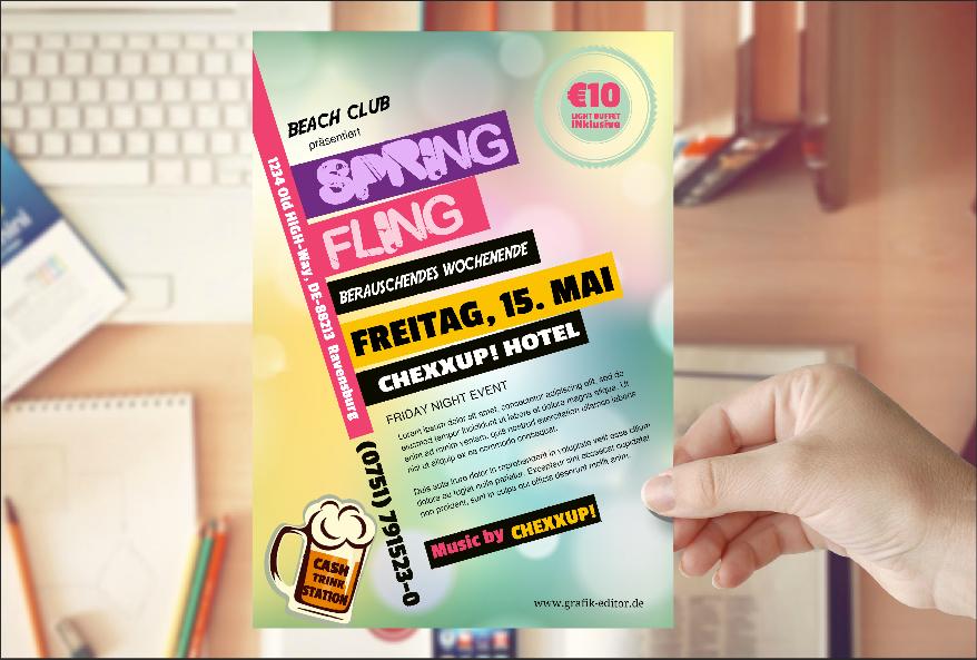 DEMO-FLYER DIN A5 | Erstellt in weniger als 5 Minuten mit dem www.Grafik-Editor.de  ---  ...und das können SIE auch !