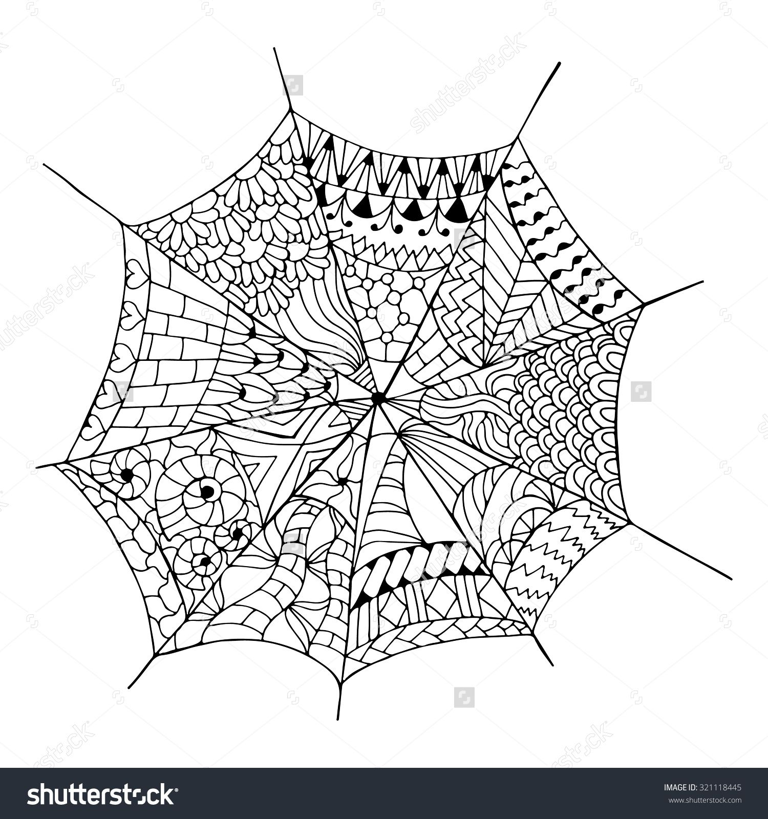 Hand Drawn Spider Web For Anti Stress. Coloring Page With High ...