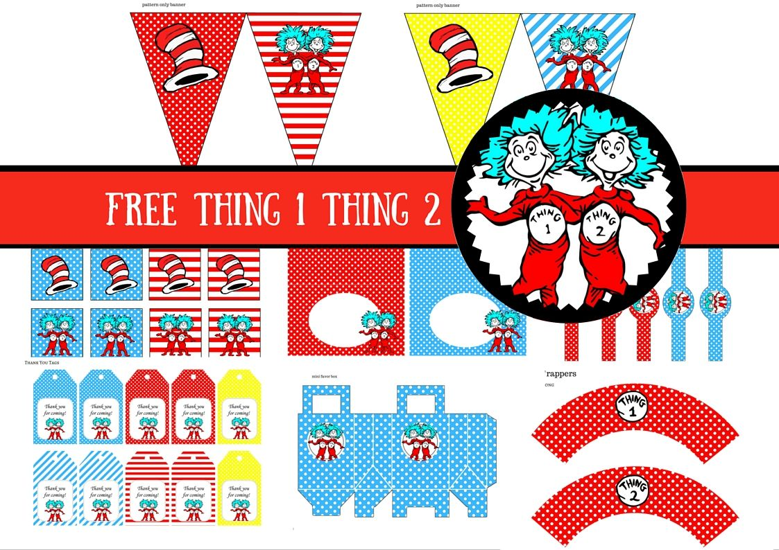 free dr seuss thing 1 thing 2 twins party printable baby shower ...