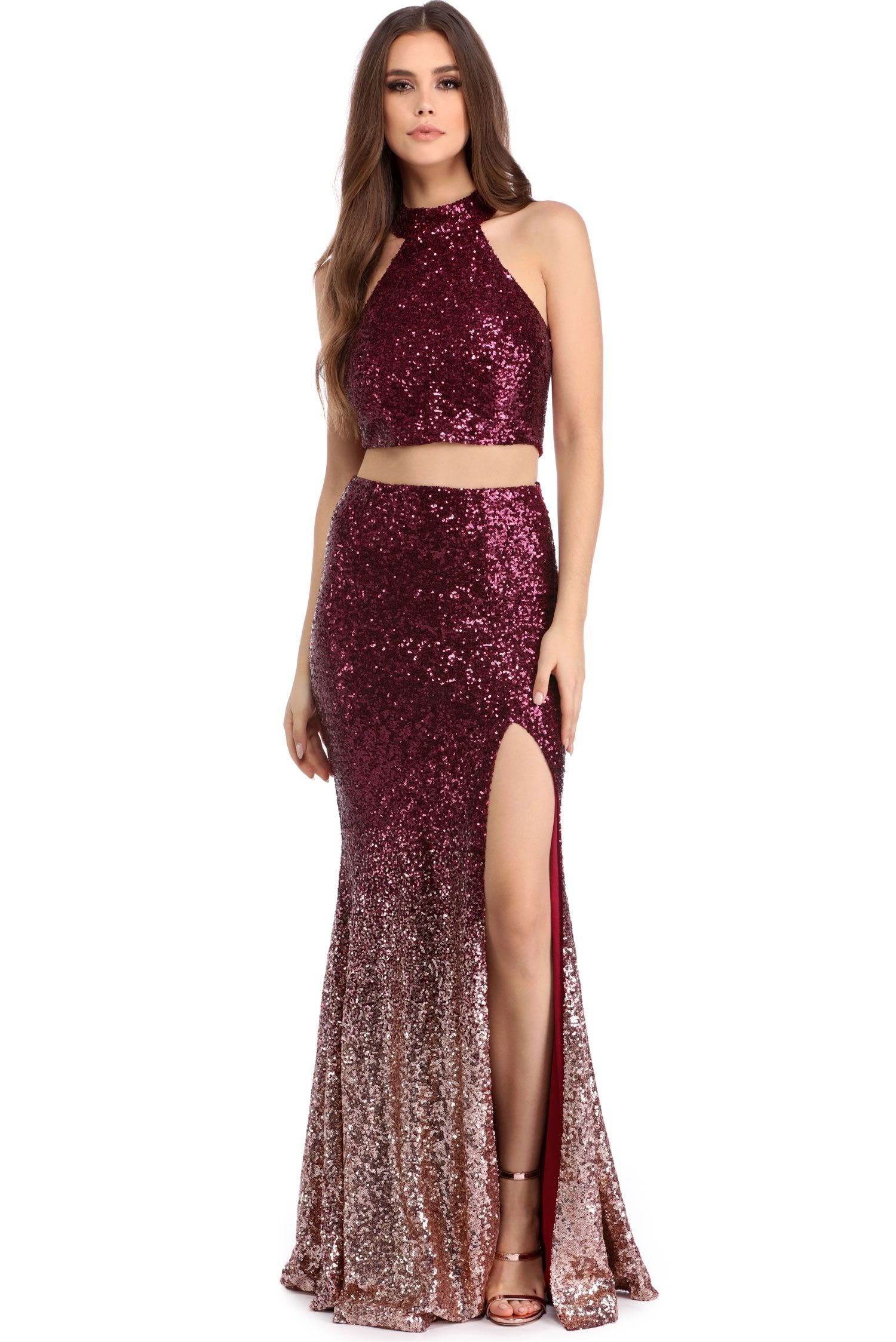 da77b9ff1eb3 Britney Burgundy Ombre Two Piece Dress | windsor | Engagement Shoot ...