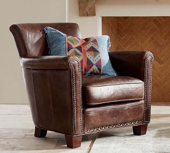 Ordinaire Irving Leather Armchair With Nailheads   Pottery Barn