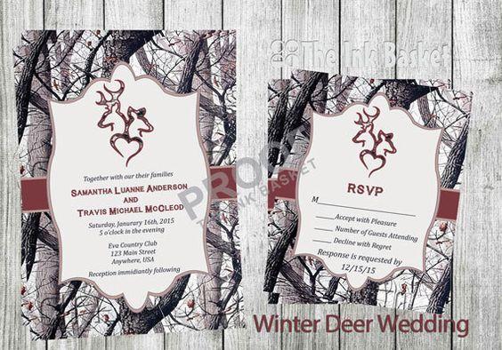 Camouflage Wedding Invitation Kits: Winter Camo Deer Head Country Wedding Invitations By