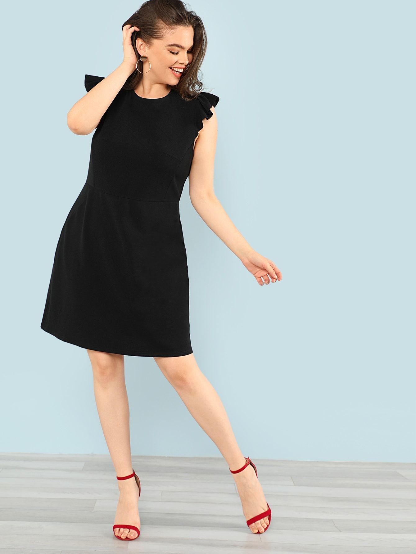 Plus Solid Ruffle Shoulder Dress Shein Sheinside Ruffle Shoulder Dress Dresses Little Black Dress [ 1785 x 1340 Pixel ]