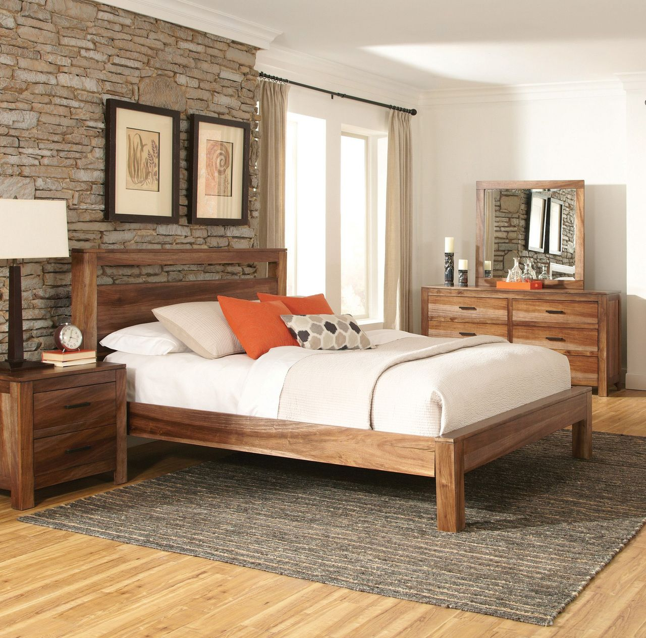Charming Coaster Peyton Natural Brown Wood Platform Bed