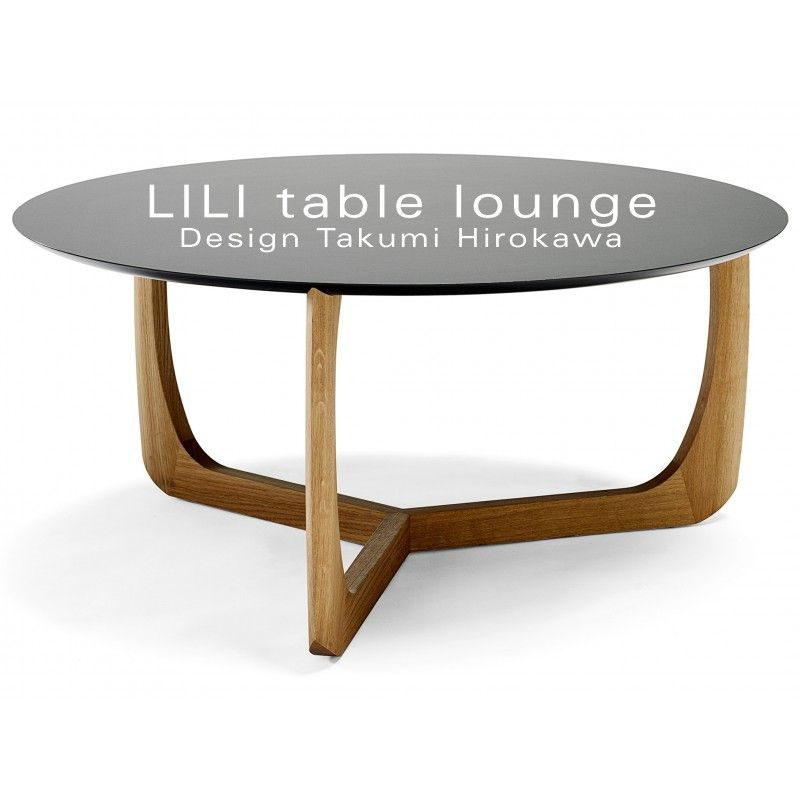 Table Basse Ronde Lounge Lili Pietement Chene Massif Plateau