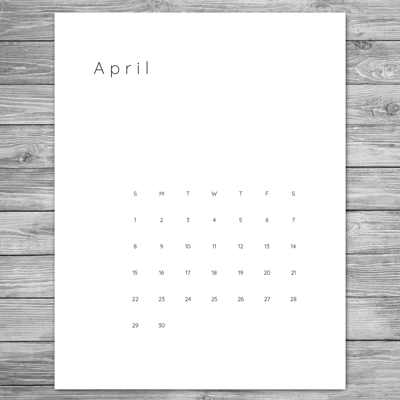 2018 2019 Printable Minimalist Monthly Calendar Desk Wall Template