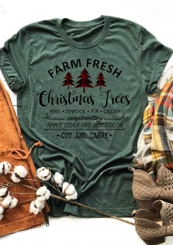 Christmas In Comfort 2020 Farm Fresh Christmas Trees T Shirt Tee   Dark Green in 2020