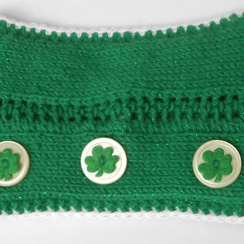 Saint Patrick's Day Sparkly Green Headband with Shamrock Buttons