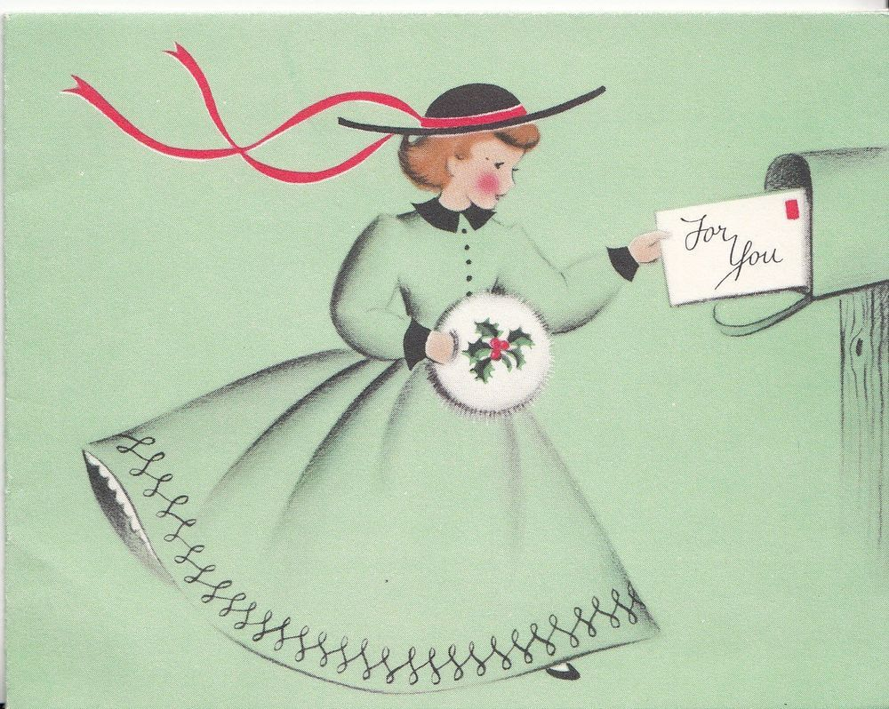 Lovely Young Lady In Green Mailing A Letter, Vintage Christmas Card ...