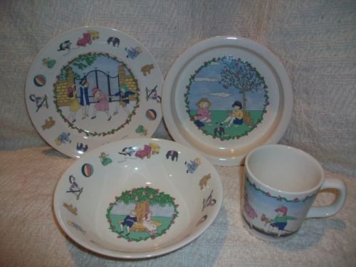 Laura Ashley Mother Child Play Time 4 Piece Dish Set Bowl Mug Plate England Dish Sets Childrens Dishes Plates