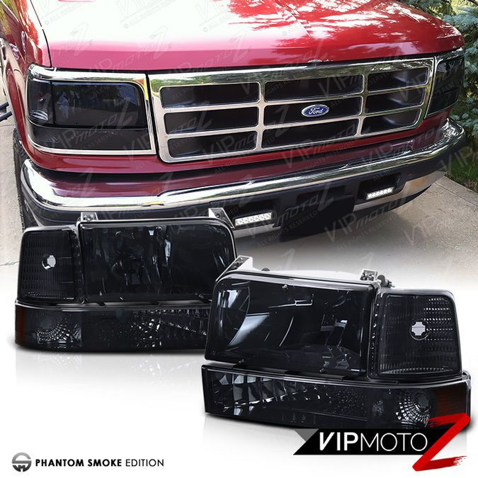 Smoked 1992 1996 Ford F150 F250 F350 Bronco Corner Bumper Signal Headlight Lamps Ebay Ford F150 1996 Ford F150 Ford