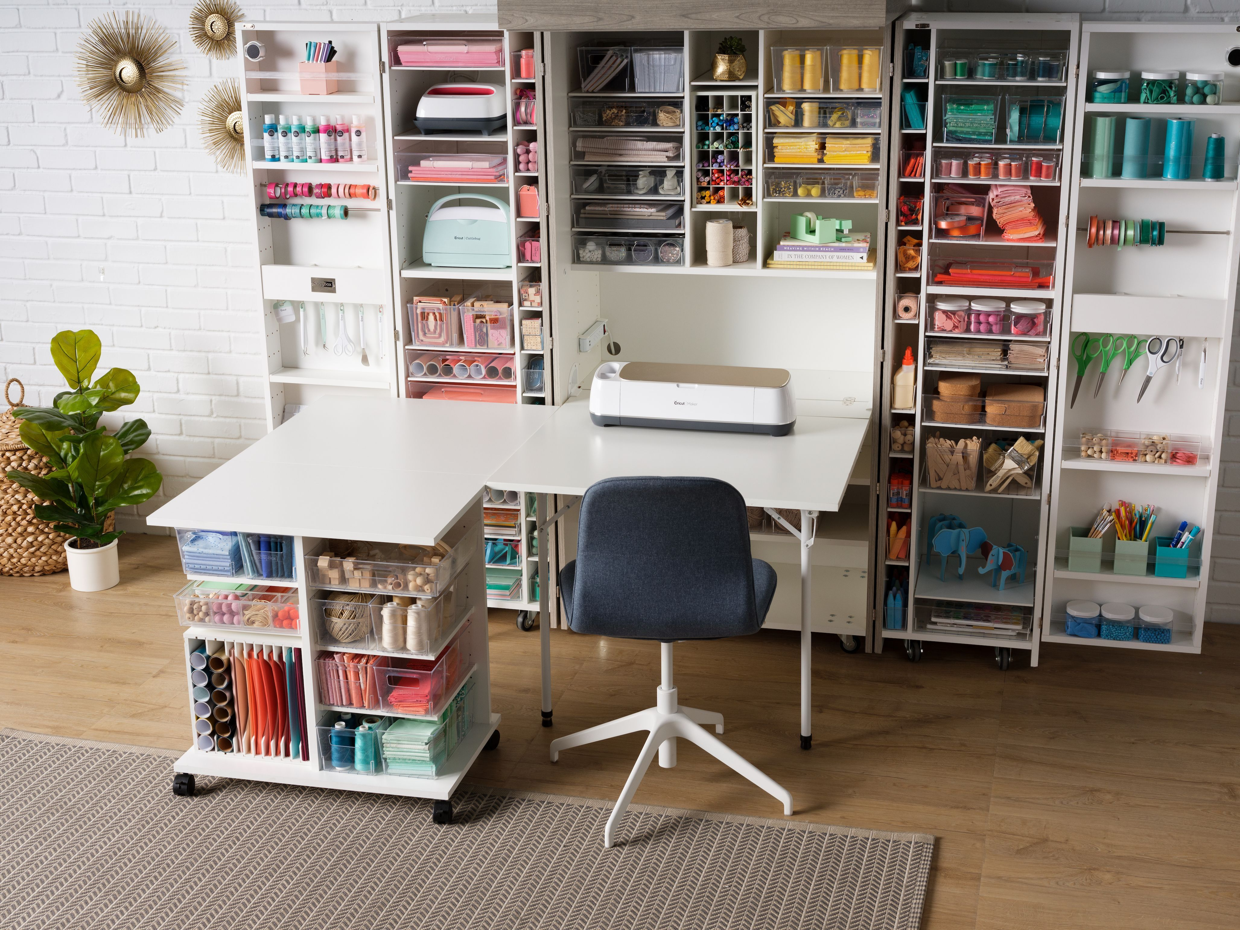The Dream Team Of Organization In 2021 Craft Tables With Storage Craft Room Office Craft Room