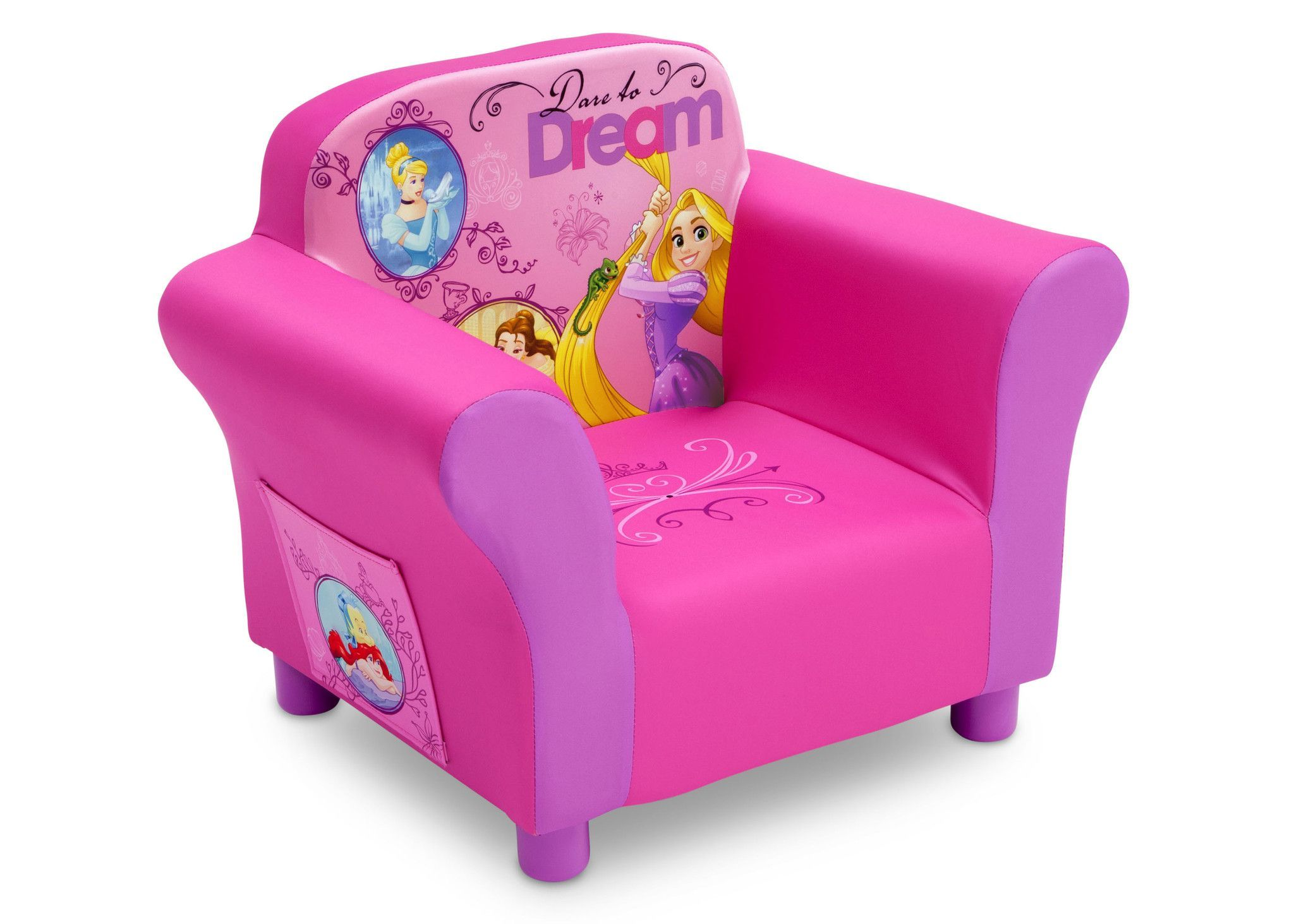 Your little princess' dreams will come true cuddling up in this Disney Princess Upholstered Chair from Delta Children. A cozy toddler chair, it features a durable wood frame, plush foam padding, stora