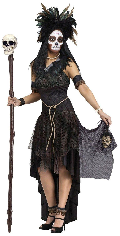 Amazon.com: Deluxe Voodoo Queen Costume Dress Adult Lady Tribal Cavewoman  Halloween Medium: Clothing