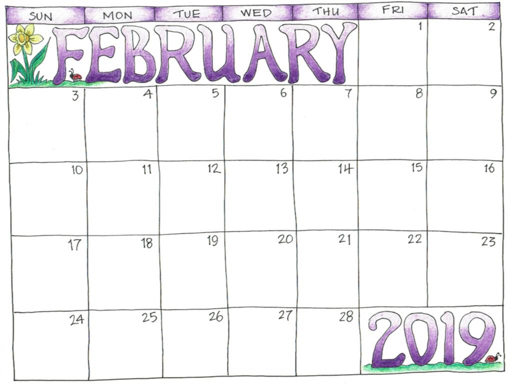 Purple February 2019 Calendar Cute Feb 2019 Calendar for Kids #feb #feb2019 #holidays
